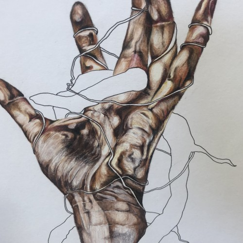 Hand with wire